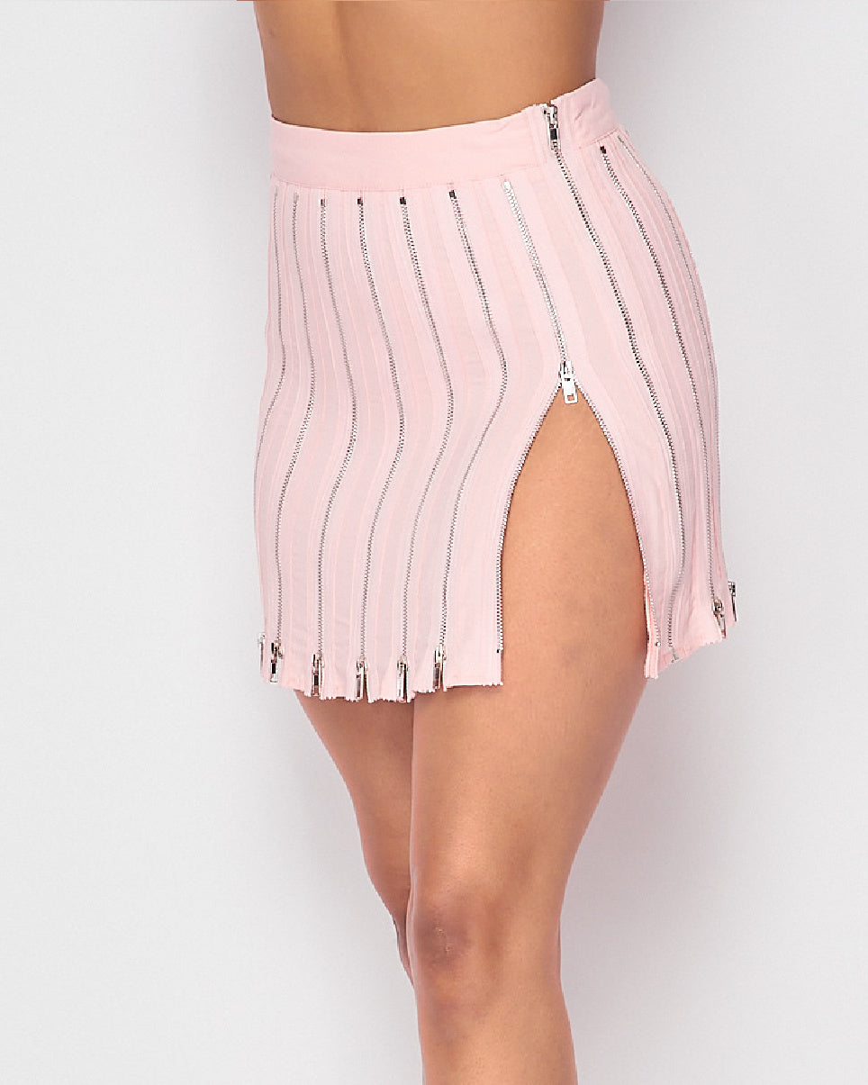 Zip Me Up Zipper Mini Skirt