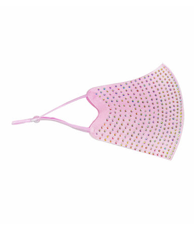 Pastel Pink Crystal Face Mask With Adjustable Loops