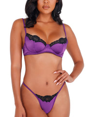 Too Sweet Purple Satin Lace 2pc Set