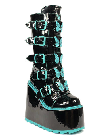 YRU Dune Butterfly - Black Teal High Gloss Platform Boots