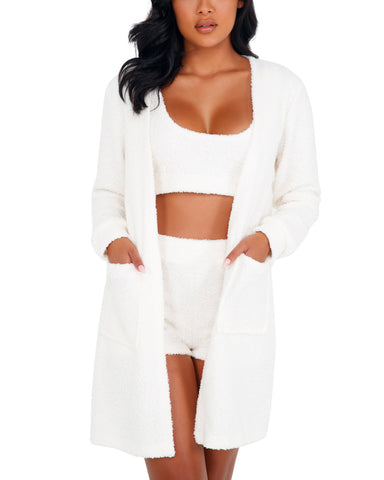 Cozy Comfy White Robe with Pockets