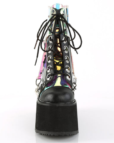 Demonia Platform Wedge Boots with Removable Clear Hologram PVC Harness
