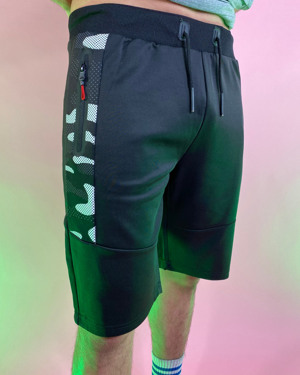 Men's Black Camo Stripe Basic Shorts