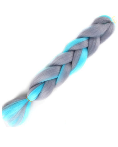 "24"" Grey and Turquoise Braiding Hair Extensions"