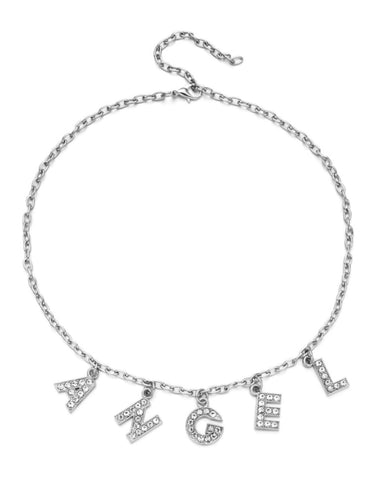 A-N-G-E-L Rhinestone Necklace