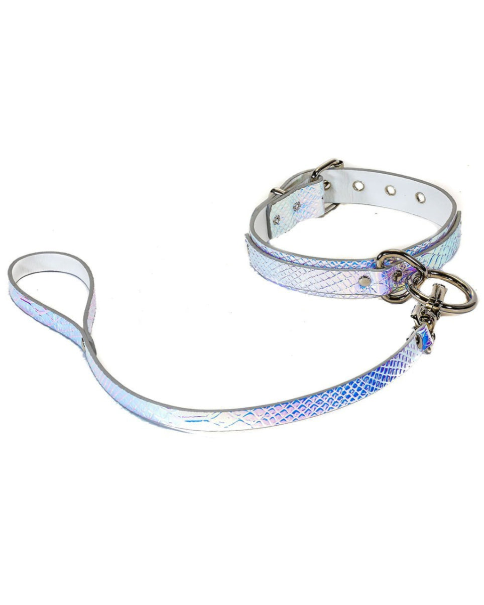 Holo Python Choker with Detachable Leash