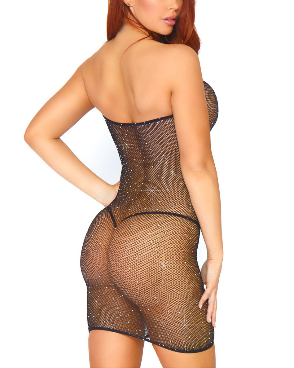 Convertible Rhinestone Fishnet Tube Dress