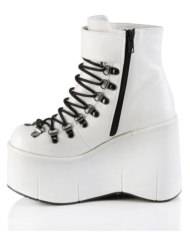 "Demonia 4 1/2"" White Platform Ankle Boot"