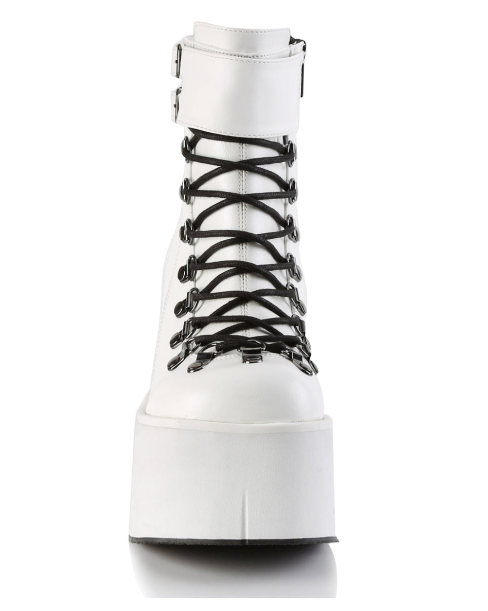 "4 1/2"" White Platform Ankle Boot"