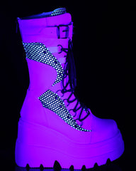Demonia White Vegan Leather Platform Lace-Up Mid-Calf Boot