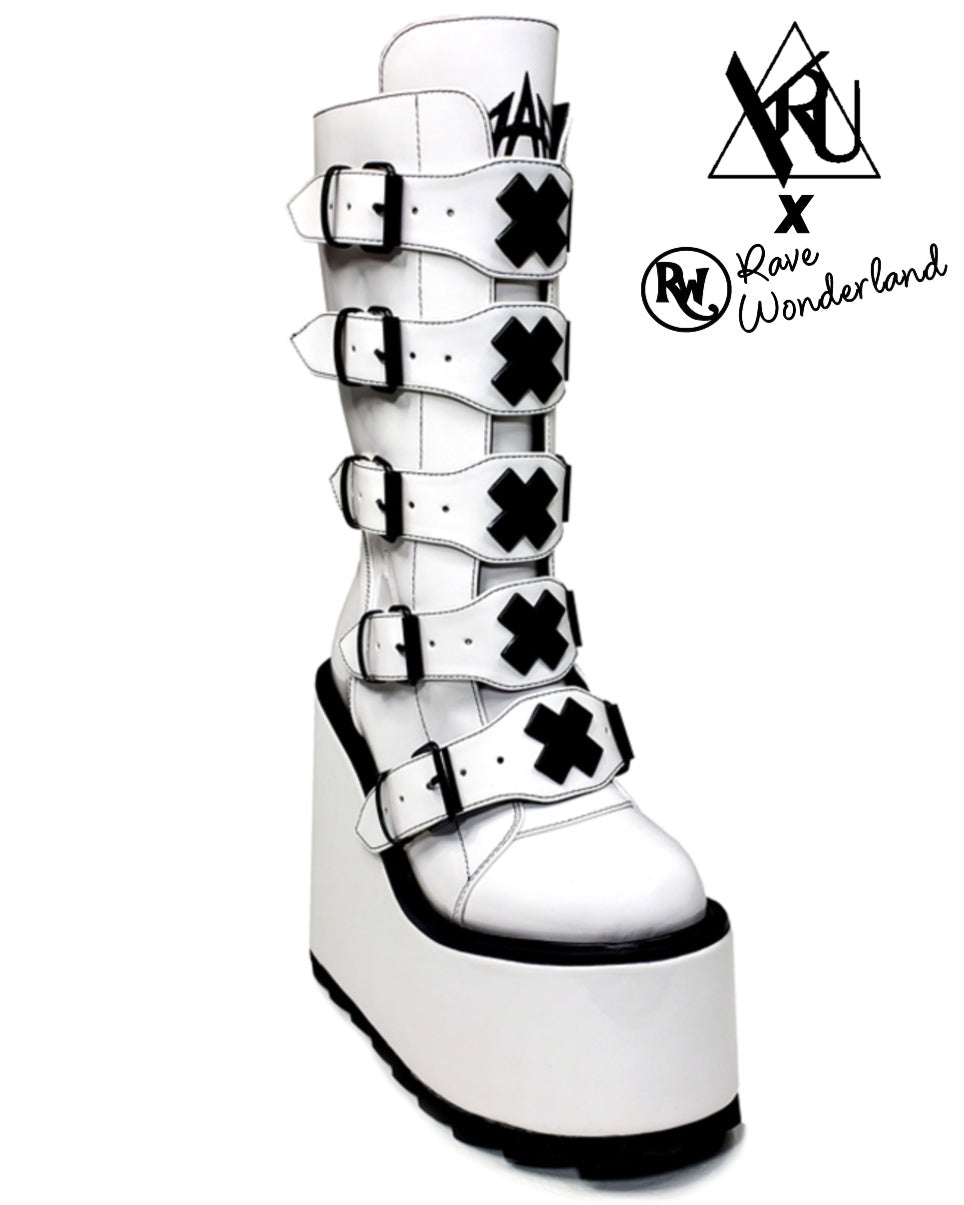 YRU Dune White X Matte Vegan Platform Shoes