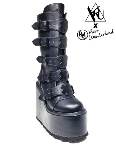 YRU Dune Black X Matte Vegan Platform Shoes