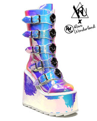 YRU Dune Space Iridescent Alien Platform Shoes