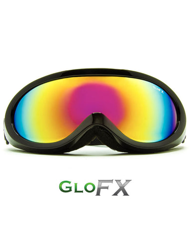 Black Diffraction Ski Goggles - Rainbow Gradient