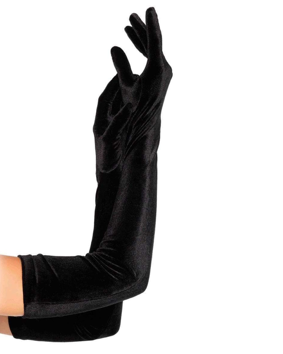 Black Velvet Opera Long Gloves