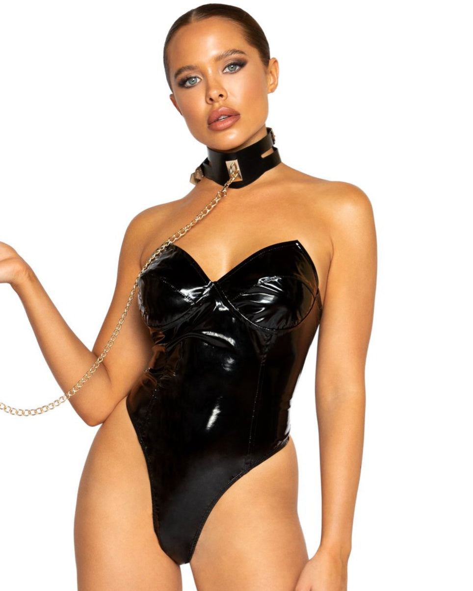 Fetish High-Cut Vinyl Bodysuit