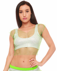Neon Rhinestone Fishnet Crop Top