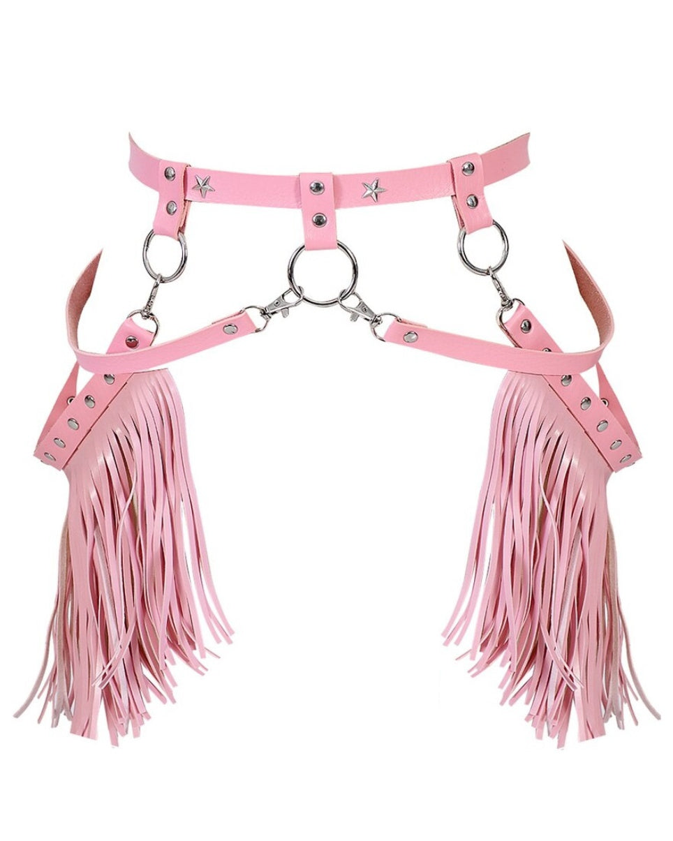 Saddle Up Faux Leather Tassel Harness Belt
