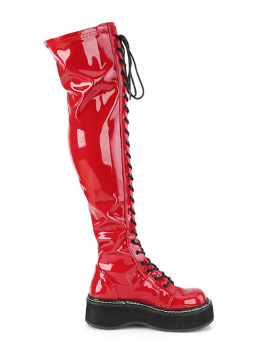 Demonia Red Thigh-High Lace-Up Boot with Outer Metal Zipper