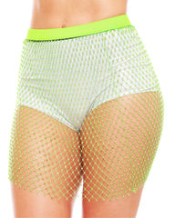 Neon Allure Rhinestone Studded Fishnet Skirt (Available in 3 Colors)