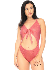 Candy Front Tie Cheeky Cutout Bodysuit