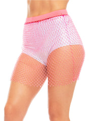 Neon Allure Rhinestone Fishnet Skirt