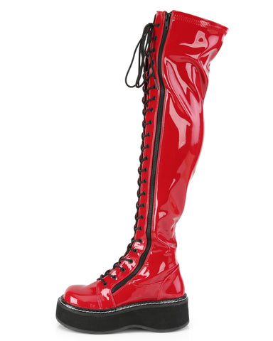 Demonia Emily Red Thigh-High Boots