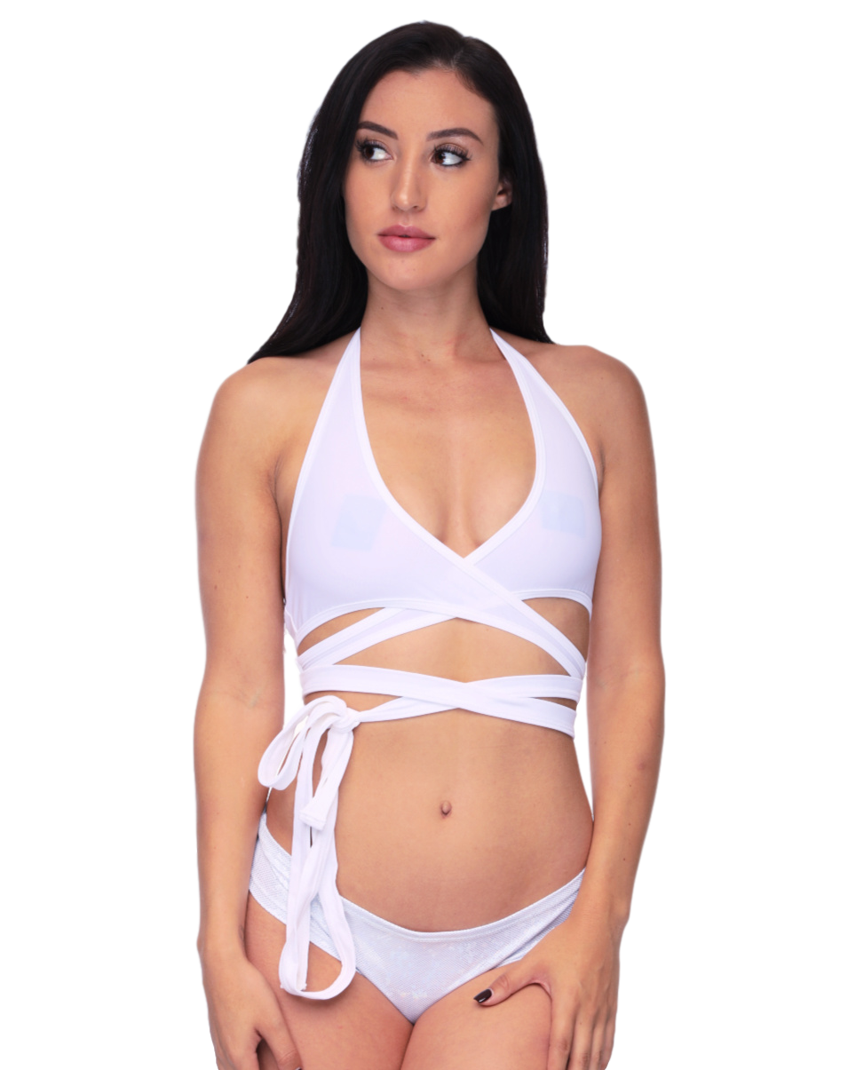 White Solid Color Rave Wrap Around Top