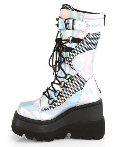 Demonia Silver Holographic Fishnet Platform Mid-Calf Boot