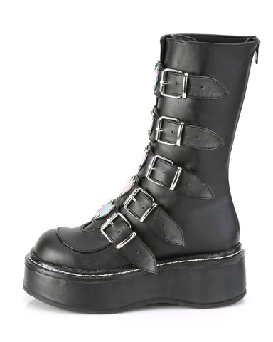 Demonia Matte Black Platform Mid-Calf Boot Featuring 5 Heart Buckle Straps