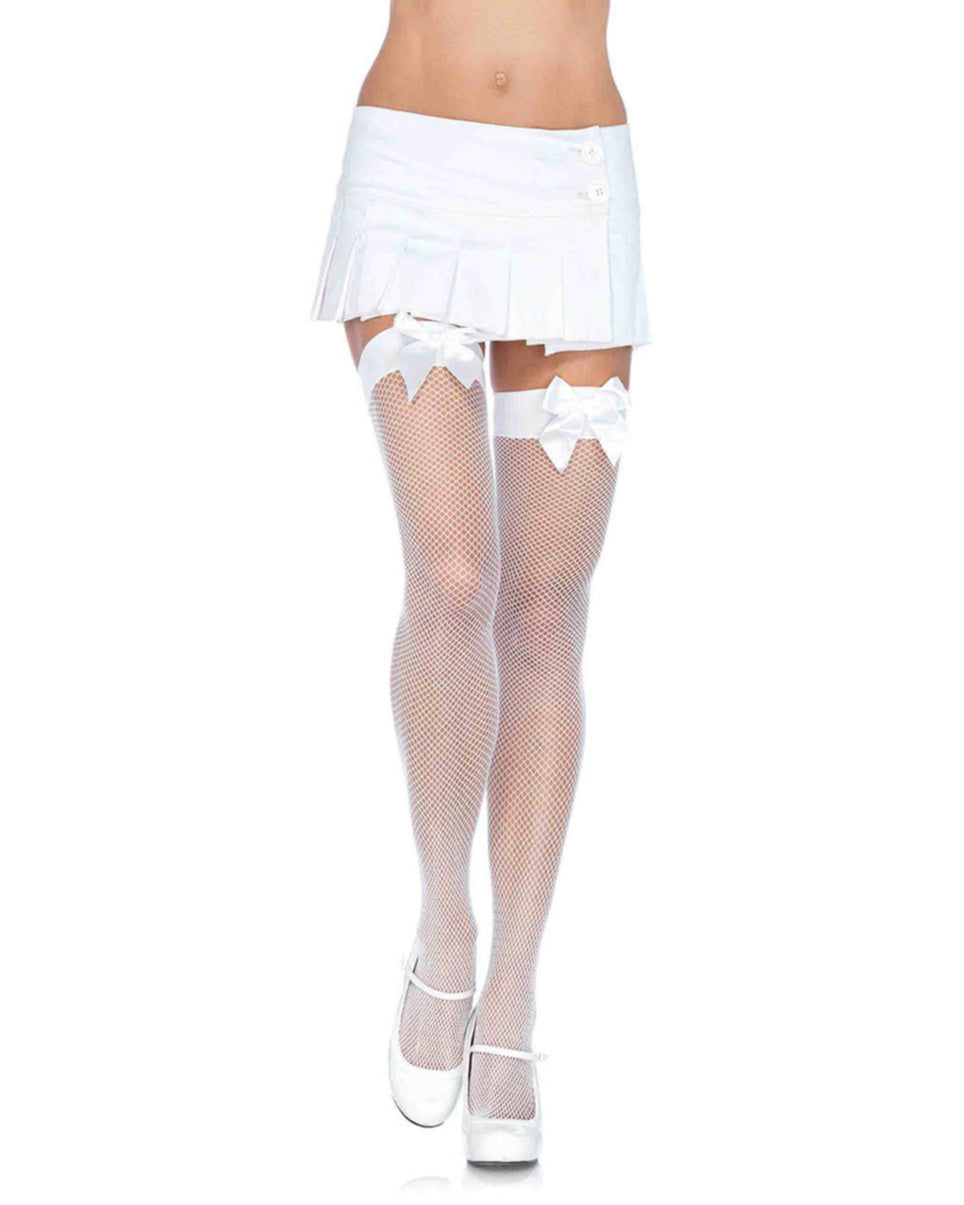 White Fishnet Stocking With Bow