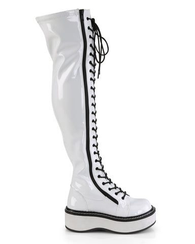 Demonia Emily White Thigh-High Boots