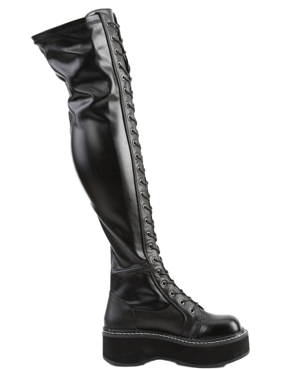 Demonia Emily Black Thigh-High Boots