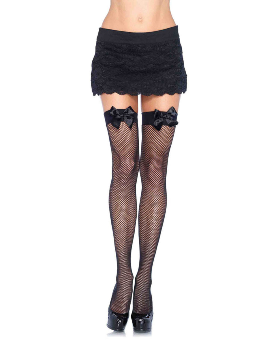 Black Fishnet Stocking With Bow