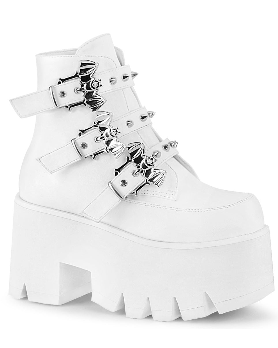 Demonia White Chunky Heel Cut Out Platform Ankle Boot