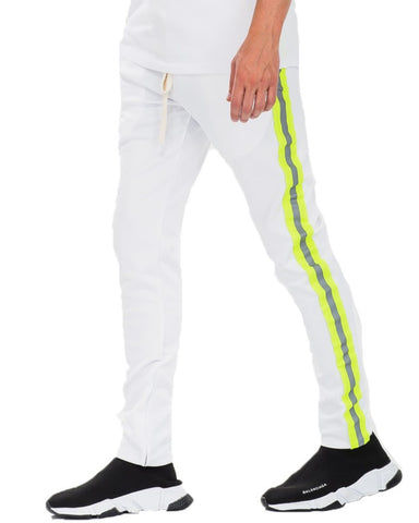 White Reflective Tape Track Pants