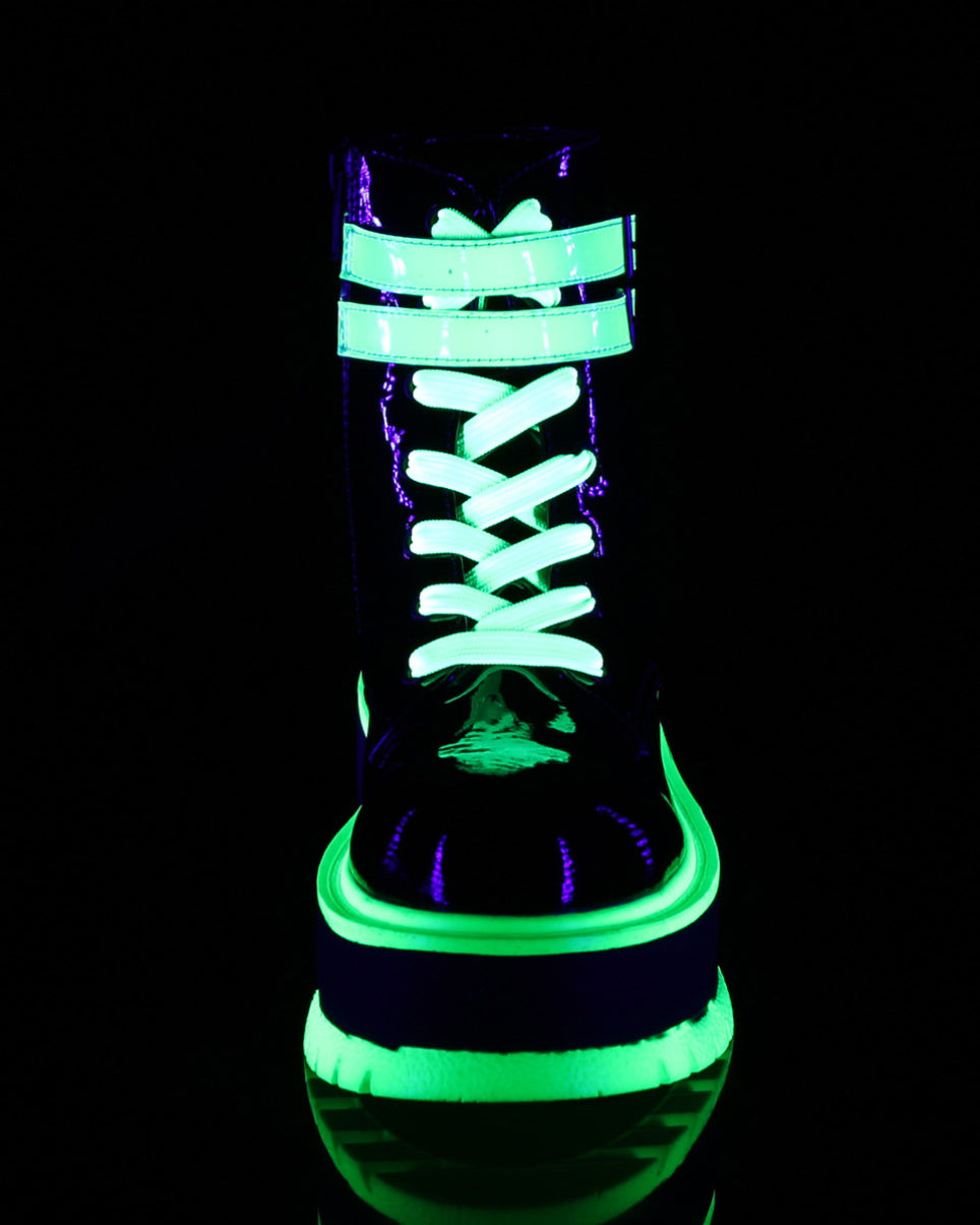 Demonia Green Pat-UV Iridescent Green Platform Lace-Up Front Ankle Boot