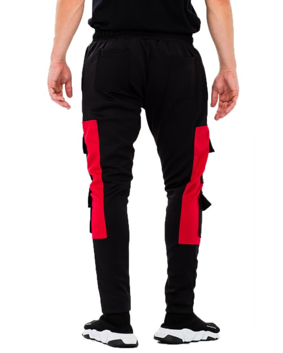 Cyber Red Block Joggers