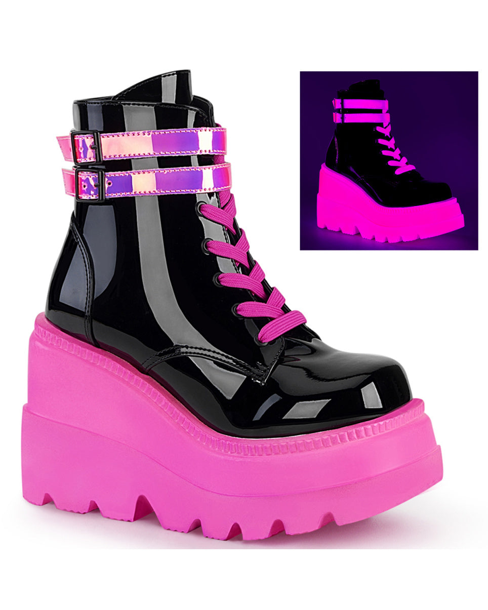 Demonia Neon Pink Wedge Platform Lace-Up Front Ankle Boot