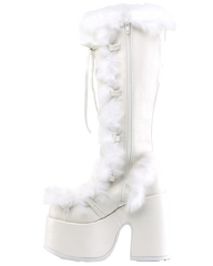 Demonia White Furry Winter Faux Fur Boots