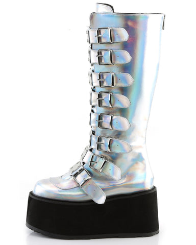 Demonia Silver Holographic Buckled Knee High Platform Boots