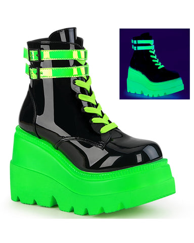 Demonia Neon Green Wedge Platform Lace-Up Front Ankle Boot