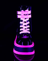Demonia Pink Patent UV Platform Ankle Boot