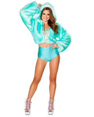 Aqua With Pink LED Cropped Faux Fur Rave Jacket