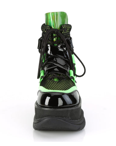 Demonia Neon Green Platform Lace-Up Criss-Cross Strap Ankle Boot