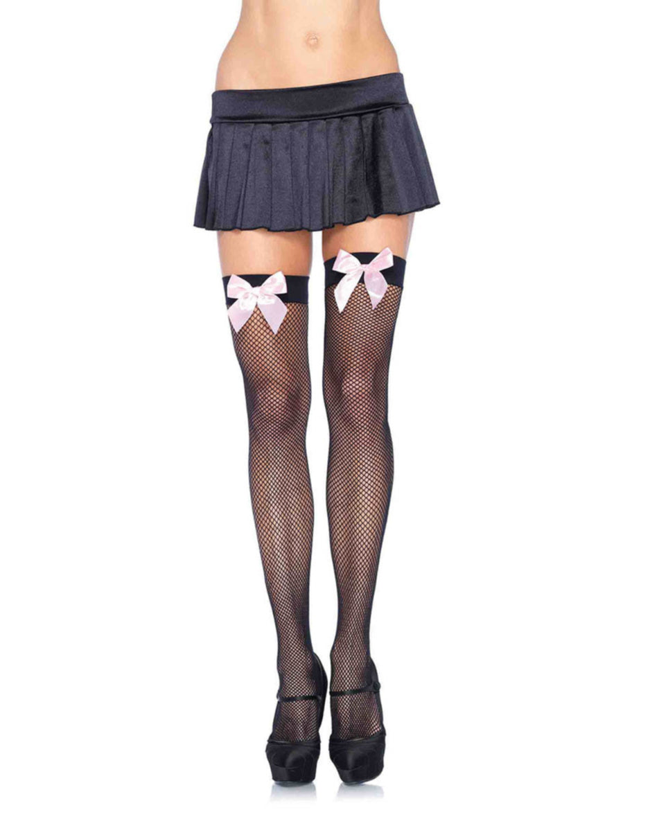 Black Fishnet Stocking With Pink Bow