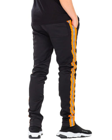 Black Reflective Tape Track Pants