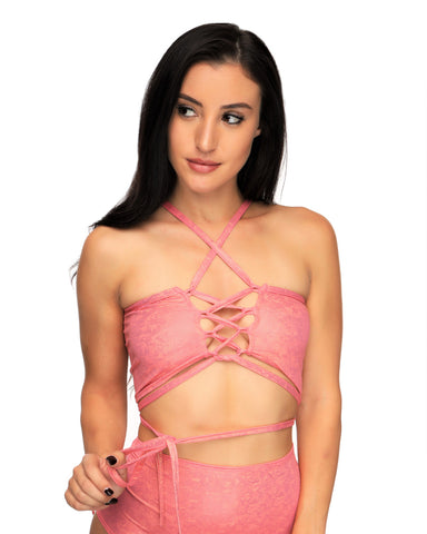 Candy Lace Up Rave Crop Top