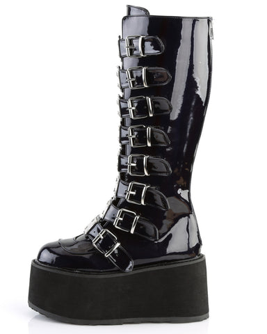 Demonia Black Holographic Buckled Knee High Platform Boots