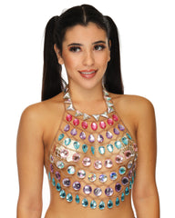 Rainbow Tears Gold Body Chain Crop Top
